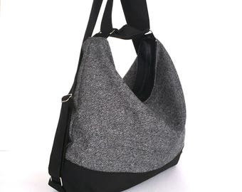 Convertible backpack, Slouch hobo bag, Backpack purse, black and grey shoulder bag, Vegan casual bag, Office hobo bag, women backpack