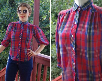 PLAID 1970's 80's Vintage Red + Blue Plaid Button Down Blouse w/ Puffed Half Sleeves // size Small Medium 36 // by The FOX Collection