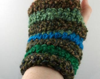 Brown, Blues, and Greens Striped Crocheted Wrist Warmers (size M-L) (SWG-WW-MH21)