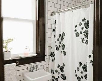 Shower Curtain-Monstera Print