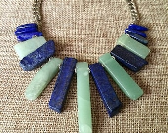 SUMMER SALE Lapis Lazuli and Aventurine Necklace / Aventurine Lapis Lazuli Statement Necklace / Green and Blue Necklace / Bohemian Layering