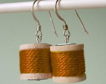 Earrings - Spools of Thread in Rust