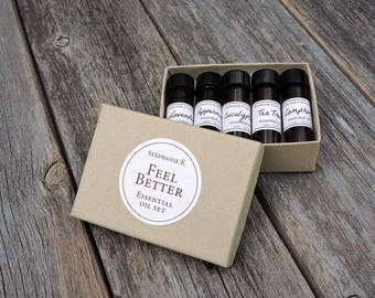 Feel Better Essential Oil Set - get well gift, gift for her, get well soon, care package, essential oils starter kit, meditation, gift set