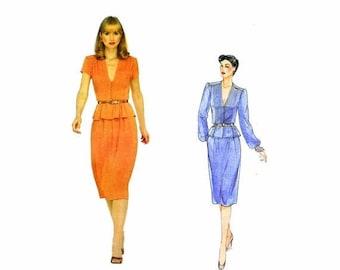 SALE Vogue 2361 Albert Nipon Peplum Top Slim Skirt Vintage Sewing Pattern Size 10 Bust 32 1/2 UNCUT