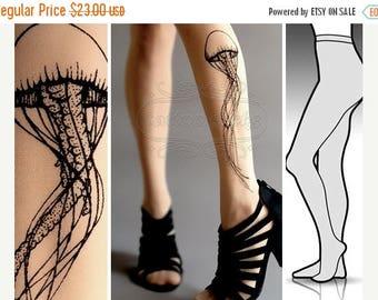 SALE///Happy2018/// new: L/XL sexy Jellyfish tattoo tights / stockings full length pantyhose Light Mocha tattoosocks tattootights