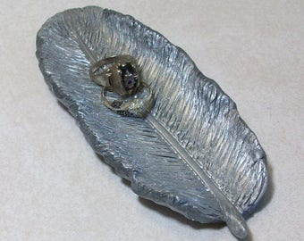 feather ring dish hand carved in silver polymer clay sculpture