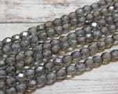 25pcs - 5mm - Fire Polished Beads - Firepolish Beads - Round Beads - Czech Round - Czech Glass Beads - Grey - Gray - (3310)