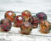 12mm - Picasso Beads - Fire Polished Beads - Round Beads - Red Beads - Chunky Beads - Czech Glass - Glass Beads - 8pcs - (4320)