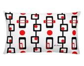 Circles Square Red Black Mod Print Rectangular Pillow