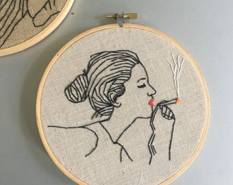 Weed Woman - hand drawn and embroidered marijuana inspired wall hanging