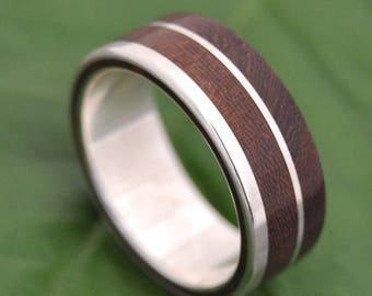 Size 10, 7mm  READY TO SHIP Un Lado Asi Wood Ring - ecofriendly wood wedding band, mens wood wedding ring, unique wooden ring