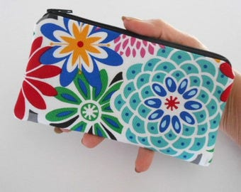 Zipper Pouch for Phone Large Cosmetic Zipper Pouch ECO Friendly Padded NEW SIZE Pop Blooms