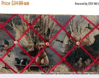 July 4th Sale Hunting Dogs Memory Board French Memo Board, 20X10 Fabric Memo Board, Ribbon Pin Board, Photo Board, Gift For Him, Fathers Day