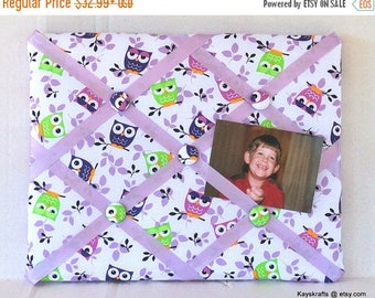 Christmas In July 30% Off Owls Memory Board French Memo Board, Purple And Green Owls Fabric Ribbon Board, Fabric Pin Board, Fabric Bulletin