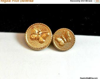 Eclipse Sale Butterfly Gold Metal Vintage Buttons Mixed Lot of 11 Buttons Metal Shank Buttons