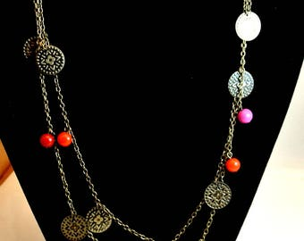 Brass Disc with Orange Bead Necklace 42 Inch Necklace Brass Chain Necklace Lightweight Necklace Boho Necklace Free Shipping in USA
