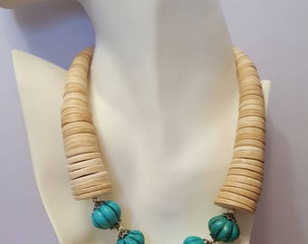 Turquoise and Wooden 80's Throwback Necklace