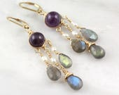 Amethyst, Pearl and Labradorite Gold Wrapped Chandelier Earrings