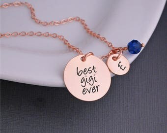 Rose Gold Gigi Necklace,  Christmas Gift for Gigi, Custom Necklace for Gigi, Rose Gold Necklace for Gigi, Charm Necklace for Gigi