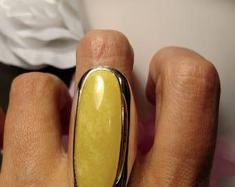 Huge 925 Sterling Silver Vintage Long Lemon Yellow Agate Statement Ring Size 8