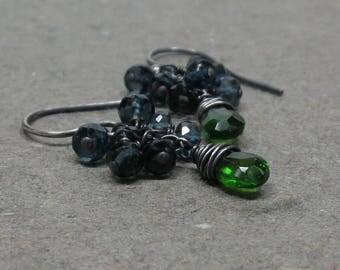 Chrome Diopside Earrings Emerald Green London Blue Topaz Cluster Oxidized Sterling Silver Earrings