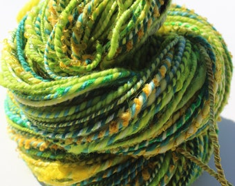 Field of Clover, Hand Spun, Hand Dyed, Art Yarn, Bulky, Green, Yellow