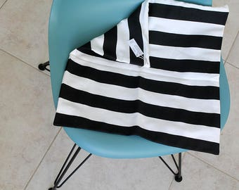 """Throw pillow Cover, Invisible zipper, closure, Black Stripe. 18"""" square, Home decor, cushion, canvas fabric front and back, Couch pillow"""