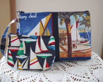 Nautical Navy Sail Boats Vintage Smart phone Case Gadget Pouch Clutch Wristlet Zipper Gadget Pouch Bag Set
