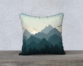 """Tantalus Mountain Range 18""""x18"""" Pillow Case"""