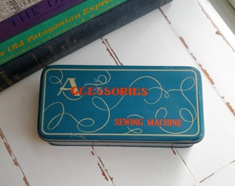 Vintage Sewing Accessories Tin Storage Box - Retro Metal Box for Sewing Machine Notions Buttons String / Craft Supply Organization Sew Gift