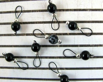 Black Onyx and Snowflake Obsidian Gemstone Stitch Markers - US 5 - Item 461