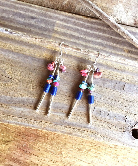 Shaman Handcrafted Earrings Dangle Stone Jewelry Gypsy Jewelry