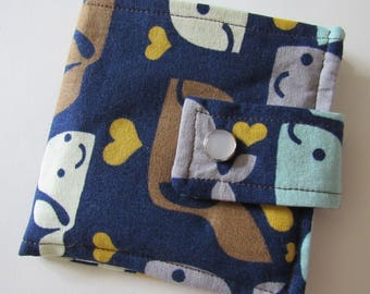 Scrappy Whale Fabric Wallet * Holds 8 cards and paper money * twilightdance