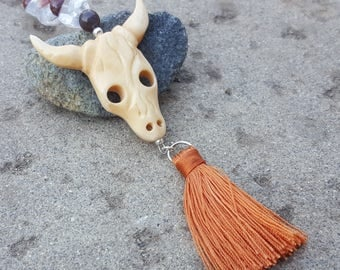 Cow Skull Rear View Mirror Charm - Quartz Crystal with Copper Tassel - Success and Joy Energy