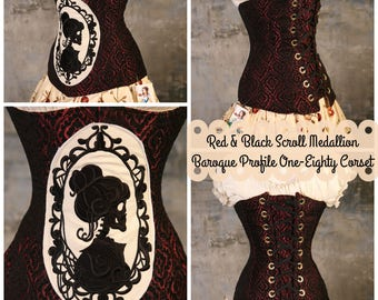 Waist 33-37 Red & Black Scroll Medallion Baroque Profile One-Eighty Corset