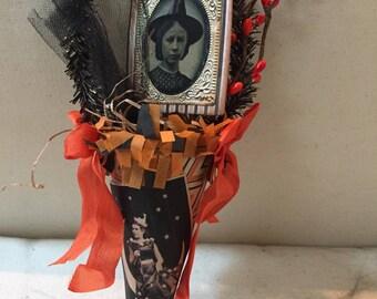 Vintage style halloween mussie tussie cone decoration