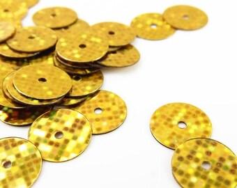 Summer Sale Gutermann Premium 8mm Flat Round Sequins - Disco Gold 10- grams - 1850
