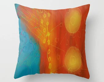 Colorful Abstract Art Decorative Throw Pillow My Funky Abstract Digital Painting
