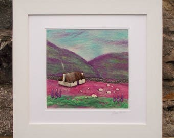 Felt Landscape Picture - Crofter's Cottage - Wool Painting - Needle Felted - Cottage and Sheep - Heather Hills - Embroidered Flowers - Art