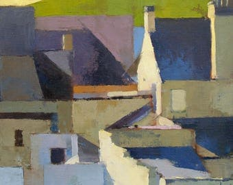 Neighbours, Small Town series, townscape oil painting, direct from artist