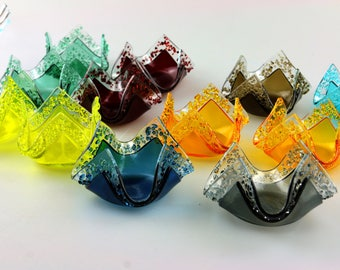 Tea Light Fused Glass Votive Holder Candle Candy Dish Wedding Favors by Getglassy