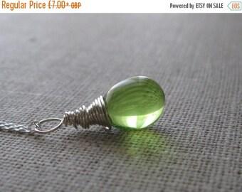 ON SALE Light Green Necklace Pendant. Teardrop Sterling Silver Pendant. Briolette Pendant. Wire Wrapped Pendant. Wedding Pendant. UK Seller