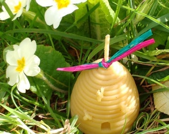 Pure Beeswax Skep Candle / Handmade Candle / Candle Gift