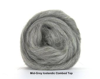 4 oz Mid Grey Icelandic Combed Top, Roving, Wool to Spin, Felt, Create Fiber Art