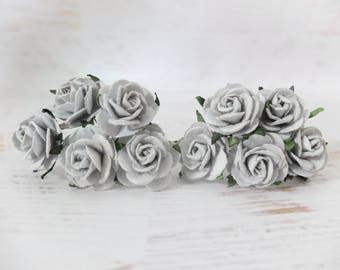 Mulberry paper roses - 10 25mm grey paper roses - grey paper flowers