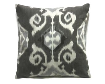 Decorative Pillow Cover Graphite Gray White Ikat Design Same Fabric Front/Back Toss Throw Accent  18x18 inch