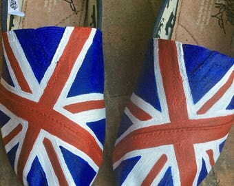 TOMS Shoes, Custom Slip-ons, Painted TOMS, Union Jack Flag, Red White Blue, Destination Wedding Woman Shoes, Vacation, present for wife, her