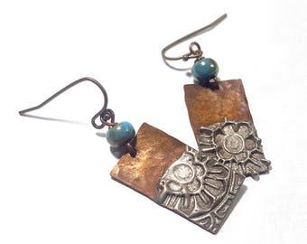 Copper Solder Stamped Earrings Set 8
