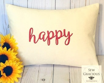 Embroidered Custom Word PIllow Cover to fit a 12x16 decorative throw pillow insert. One Little Word.  Word of the Year.  Choose your font.