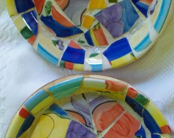 Shabby Chippy Country Fruit Mosaic 8 inch Flowerpot Saucers